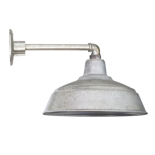 "15"" All Weather Gooseneck Farm Light Wall Mount, Galvanized"