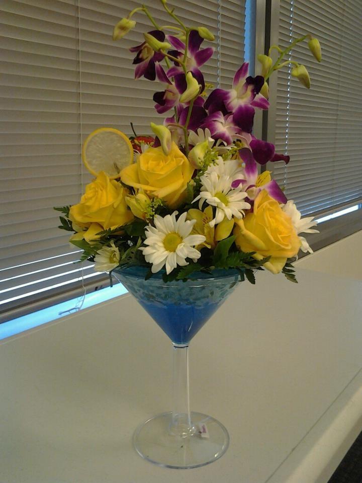 Martini glass flower arrangement   Wedding Ideas