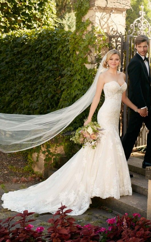 D2042 Fit-and-Flare Strapless Wedding Dress by Essense of Australia