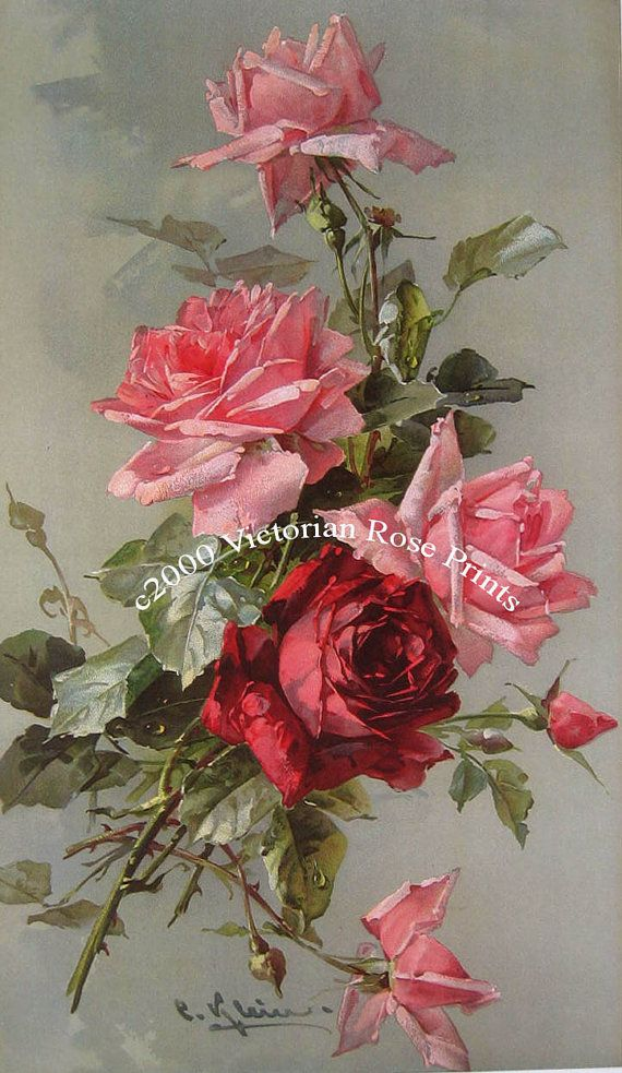 French Victorian Roses Bouquet Print by VictorianRosePrints                                                                                                                                                                                 Mais