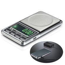 1000g x 0.1g USB charging Electronic Scale Digital Pocket libra jewelry scale 1kg Balance joyeria balanca Weighing weight scale(China)