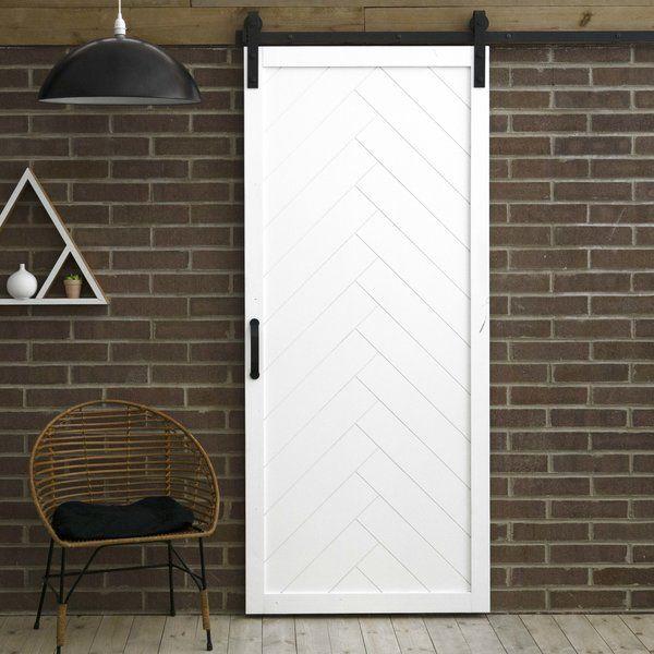 Paneled Wood Finish Herringbone Barn Door With Installation Hardware Kit Barn Style Doors Glass Barn Doors Wood Doors