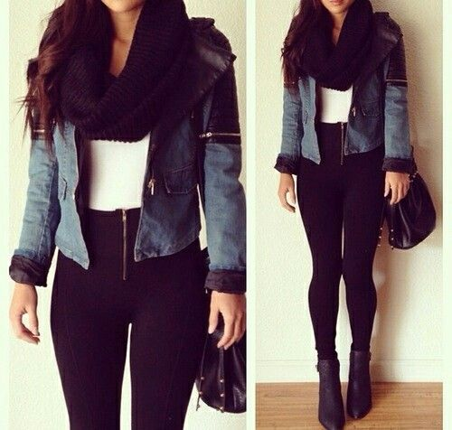 Fall Outfit. Winter Outfit. Black Leggings Outfit. Winter Fashion. Denim Jacket