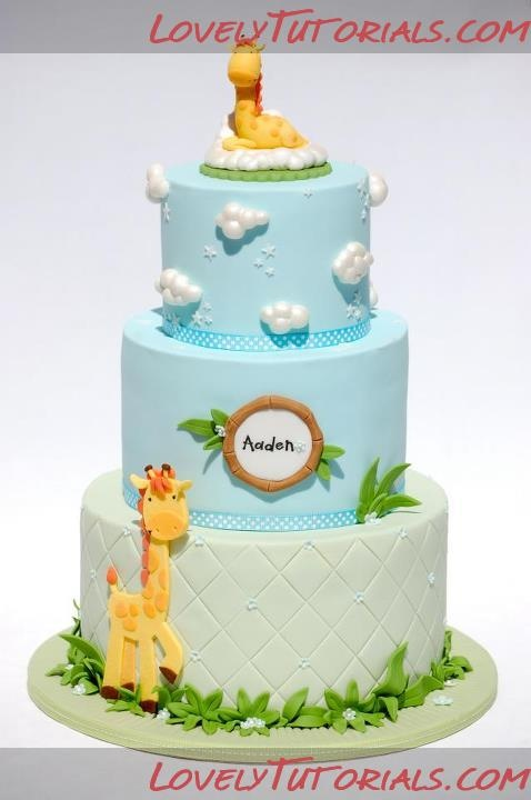 Mother and Baby Giraffe Baby Cake Tutorial