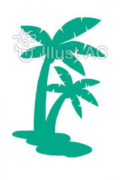 グリーンのヤシの木イラスト