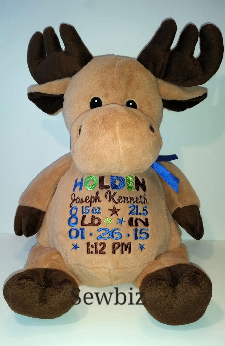 SewBiz Custom Embroidery - Personalized Moose Stuffed Animal, $35.00 (http://www.sewbizcustomembroidery.com/personalized-moose-stuffed-animal/)