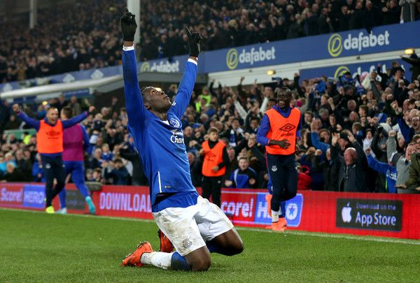 Romelu Lukaku of Everton celebrates scoring his team's first goal during the Emirates FA Cup sixth round match between Everton and Chelsea at Goodison Park on March 12, 2016 in Liverpool, England.