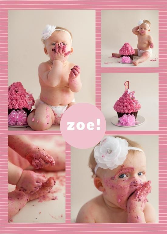 1st birthday smash cake! {Ha - utter disaster for my Zoe!}