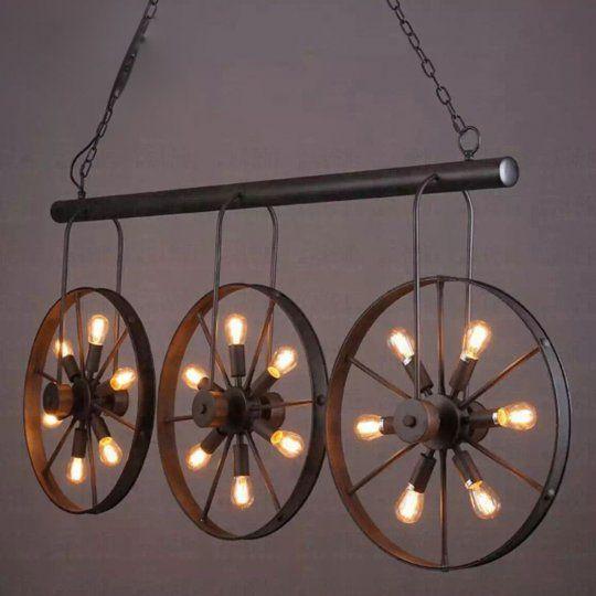 "Pub/Loft Style Ceiling Lamp, 3 Wagon Wheels on Iron Bar, 18 Bulbs, Dark Brown from ForpostTrade.ca (58.5"" x 27.3"""