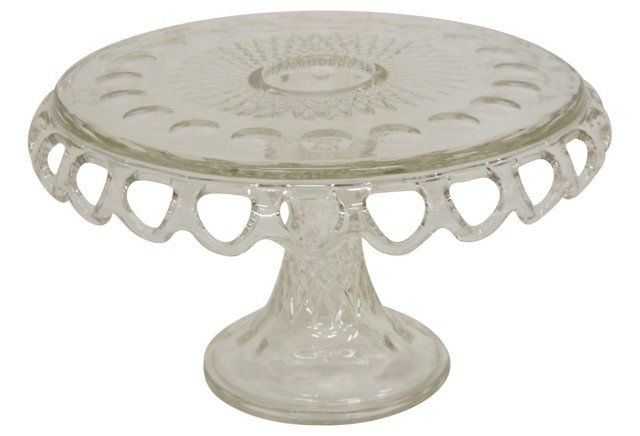 Glass Open Scalloped Cake Pedestal