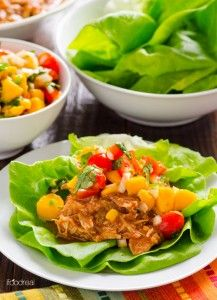 Clean Eating Slow Cooker Mexican Chicken Lettuce Cups with Mango Salsa ~ http://www.thegraciouspantry.com