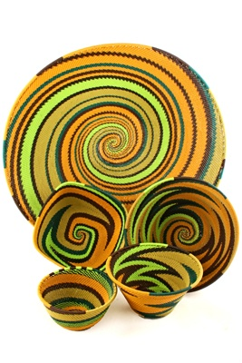 South Africa - the art of weaving plastic coated telecommunications wire using traditional basketry techniques.