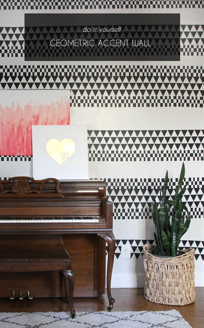 Diy geometric accent wall with vinyl nice accent for Geometric accent wall