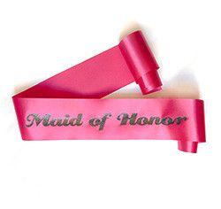 "Glittering Hot Pink/Black ""Maid of Honor"" Sash"