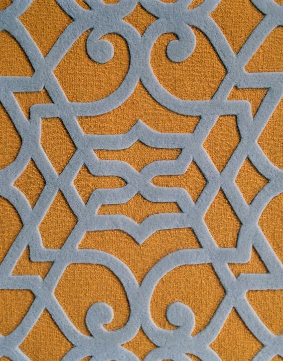 Classical Yellow White Rug Pattern Wall To Wall