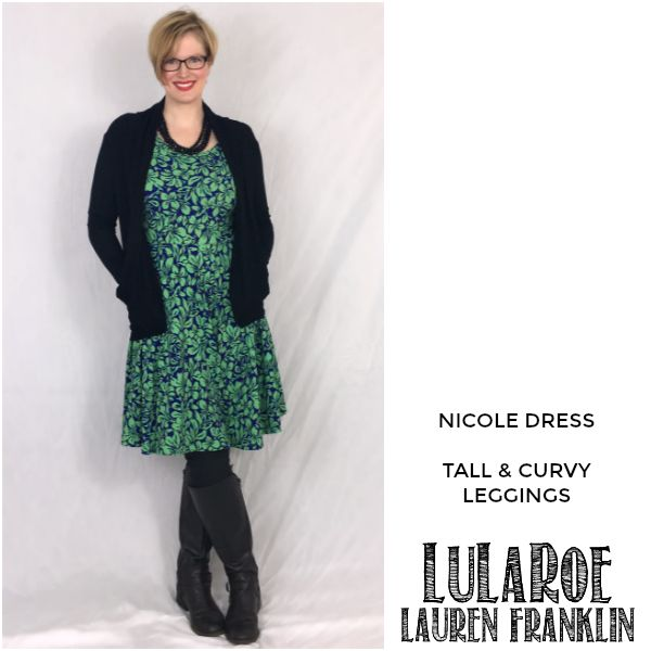 LuLaRoe Lauren Franklin featuring Kim Bongiorno in the LuLaRoe Nicole dress and Tall and Curvy leggings - plus 14 other outfits! | WAHM style