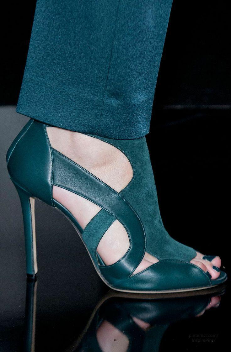 Deep Aqua Blue suede heels!! Paris Fall 2014 - Elie Saab