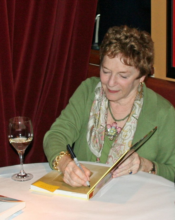 "Frances Mayes, author of ""Under the Tuscan Sun,"" signing copies of her cookbook for guests at our Cooks With Books dinner extravaganza!"