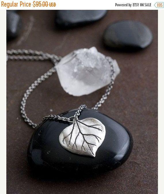 20% korting op moeders dag verkoop zilveren Aspen blad ketting | Sterling zilveren ketting