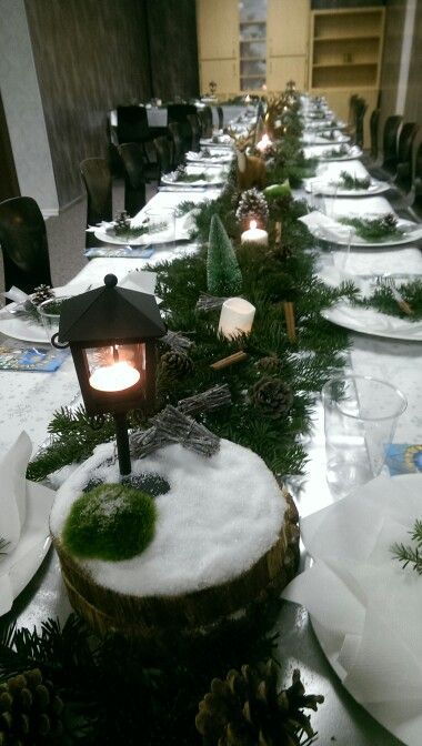 Christmas table ideas. Winter table decoration.