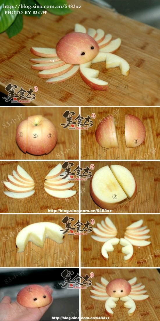 Food Art DIY - Apple Crab | iCreativeIdeas.com Like Us on Facebook ==>…