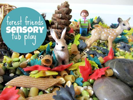 Adorable forest friends sensory play