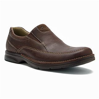 Clarks Originals - Senner Lane Slip On Chocolate Nubuck $90. This men's slip-on shoe is an easy and stylish option for everyday wear. Crafted of rich nubuck and lined in synthetic materials, it provides overall foot protection and comfort. The removable footbed cushions and supports, while the lightweight outsole absorbs shock for long-term wear. A good-looking go-to for jeans, khakis, and cords.
