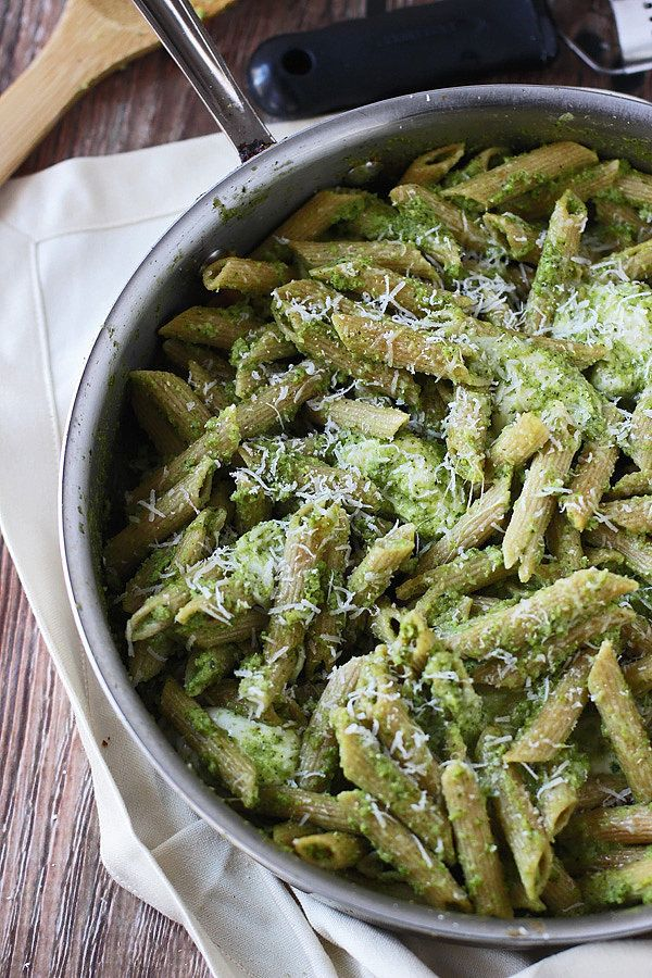 Broccoli takes center stage in this pesto whole wheat penne recipe from @cookingforkeeps