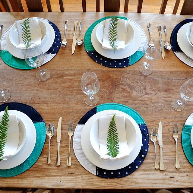 Navy blue, turquoise and grey placemats.  Perfect for Mother's Day lunch or a gift for the special lady herself.  In shop now.  #etsyseller  #etsyresolution2016  #tasdesigned  #tableware