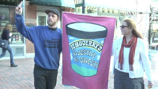 "Vermonters for a Just Peace in Palestine/Israel (www.vtjp.org/icecream) took its Palestine Solidarity Cantastoria – No Justice, No Sweets – to the streets of Burlington, Vermont, on April 14, 2015 – ""Free Cone Day"" for the Ben & Jerry's faithful.   It was performed outside the flagship scoop shop of Ben & Jerry's as fellow activists leafletted and engaged the local populace.  The leafletting and cantastoria were part of a national day of protest and political education calling for an end to…"