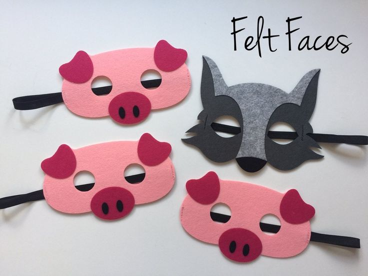 One set of 4, Three Little Pigs and the Big Bad Wolf masks, one of each style shown in the photo. Each mask is made with premium felt, and has a black elastic band sewn to each side of the back. These