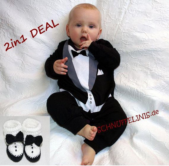 tuxedo onesie + tuxedo shoes - SUPER DEAL - Tuxedo Romper and shoes for Formal Photogra, 1st birthsday dress - infant tuxedo, wedding on Etsy, $38.00