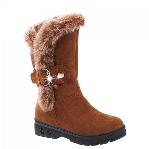 Buckled Fur Trimmed Mid-calf Boots