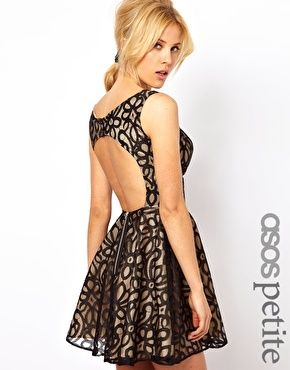 ASOS PETITE Exclusive Lace Full Skirted Dress with Cut Out Back