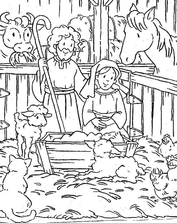 Baby Jesus, : Nativity of Baby Jesus in a Manger Coloring Page