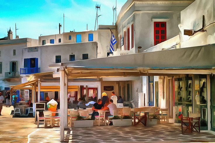 Nice shadow for a coffee. Myconos, Greece.