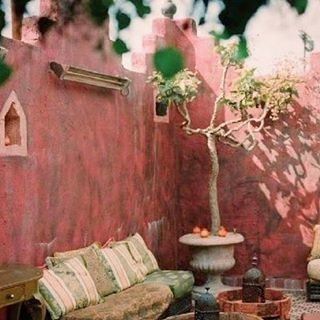 Pretty in pink ! The original inspiration shot for the new Sands hotel and spa , which will open next month in Indian Wells ... painted a shade of dusky pink , not quite as bold as this ancient Indian fort , but warm and welcoming for its desert location and ambiance. #livelifeincolor