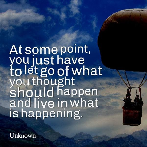 At some point, you just have to let go of what you thought should happen and live in what is happening.