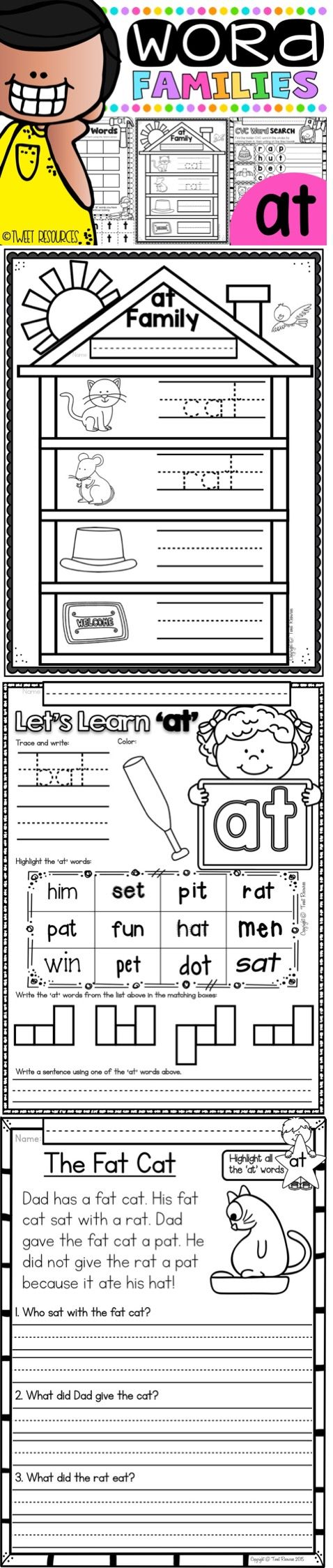"""FREEBIE! Enjoy this FUN AND ENGAGING CVC Word Family freebie by Tweet Resources! """" """"This is a comprehensive pack for this word family. I can't wait to introduce these reinforcing activities to my Kinders"""" Cynthia C"""