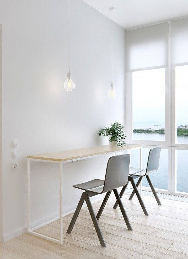 Interior, Simple White Table White Stained Color Framework Simple Design Hanging Lamp Design Ideas: