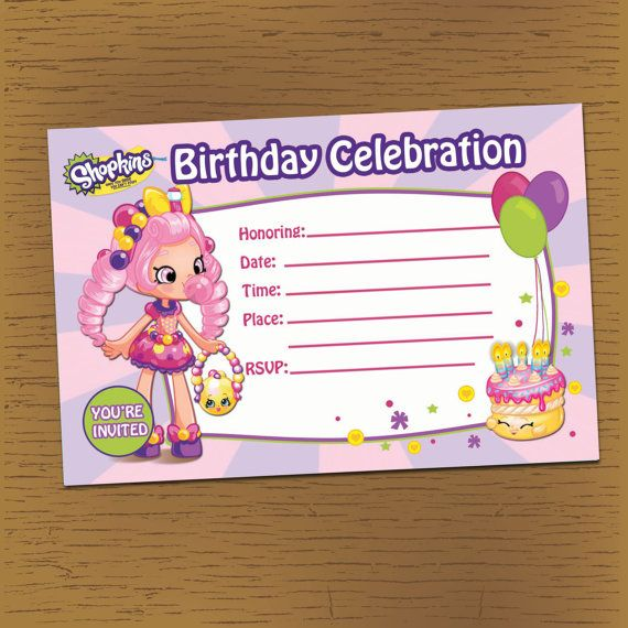 SHOPKINS Printable Birthday Blank Invitation DIY By Anjillian
