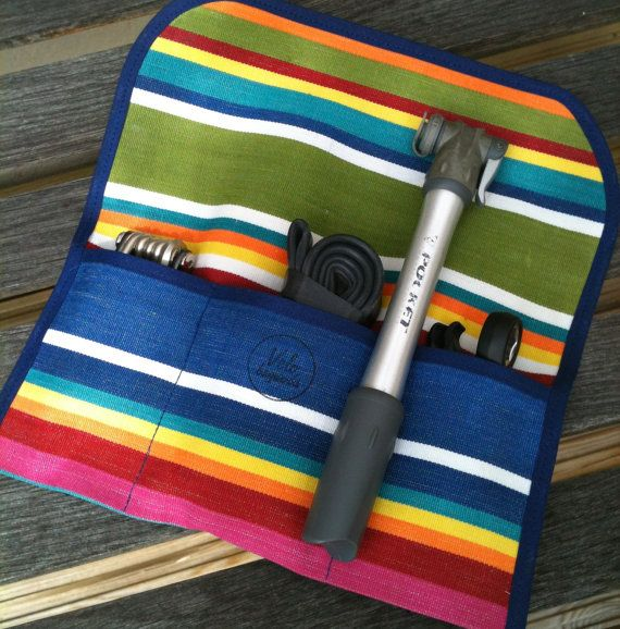 Waxed canvas bicycle tool roll, saddle bag, accessory and tool pouch, multicoloured stripes.