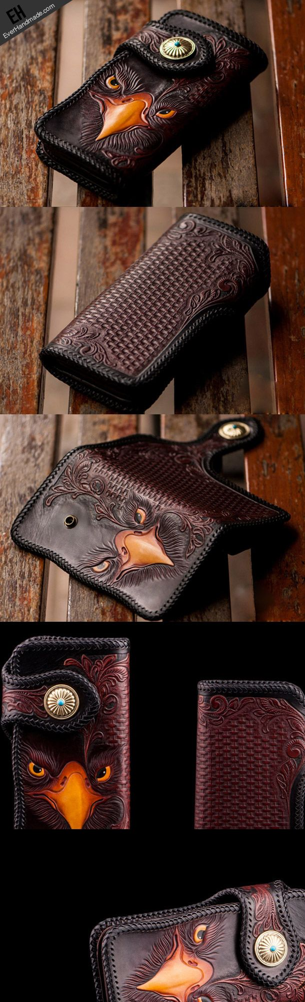Handmade red brown leather floral eagle carved biker wallet bifold lon | EverHandmade