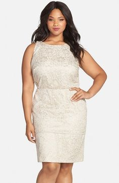 Calvin Klein Metallic Lace Sheath Dress (Plus Size) available at #Nordstrom