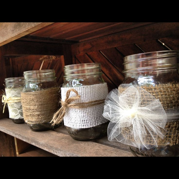 White Burlap and Jute Mason Jar for a Wedding Shower, Wedding, Baby Shower or Backyard Decoration.   www.etsy.com/shop/LaceTwineAndBurlap