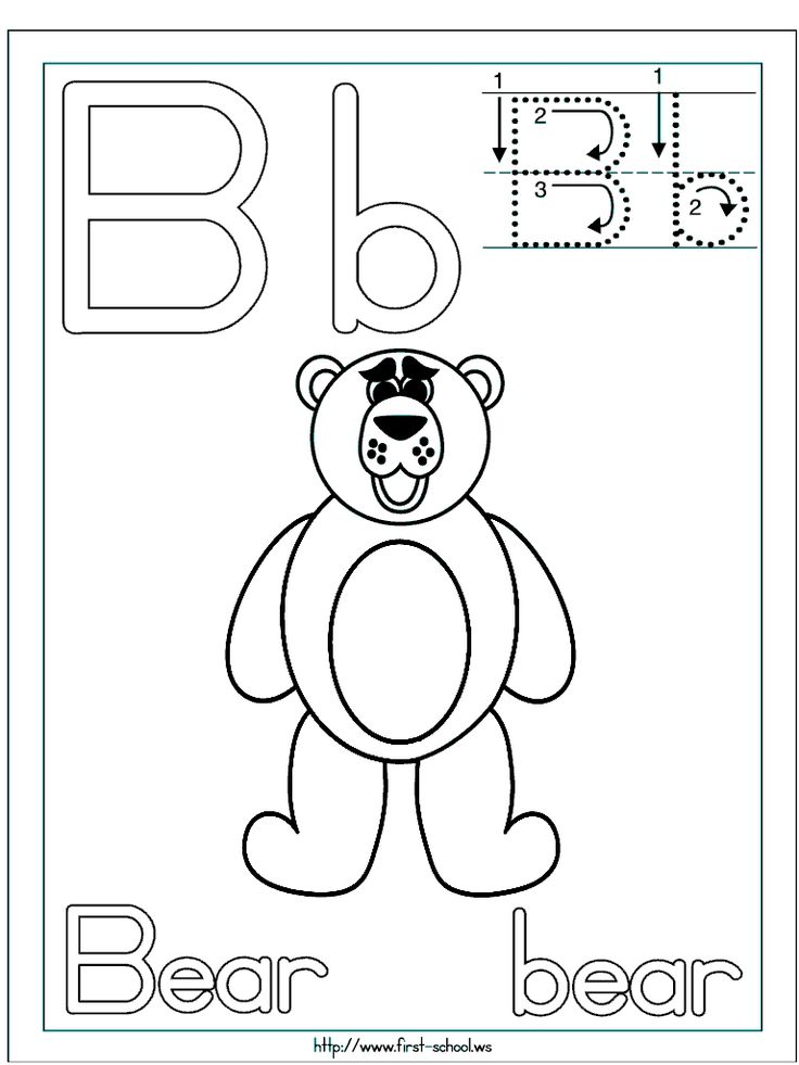 B for Bear coloring page for B week