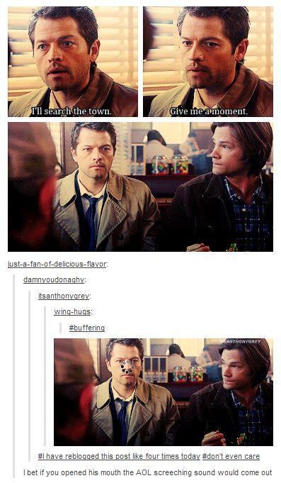 Castiel is buffering. LOL #Supernatural #Castiel #Sam
