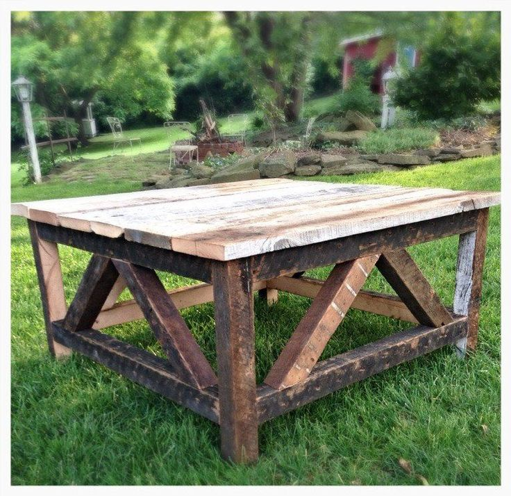 "***Please contact us first for accurate shipping rates before purchasing this piece*** This rustic coffee table is 32""x 32"" and is made using repurposed barn wood. The table is made to order and can b"