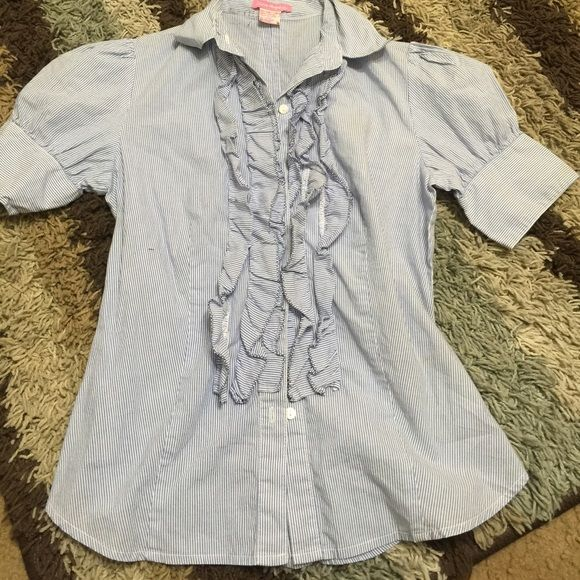 Blue and White Short Sleeve Top Blue and White Stripe Blouse Tops Button Down Shirts