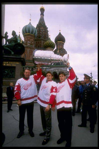 Igor Larionov, Slava Kozlov and Slava Fetisov hoisting the Stanley Cup in Moscow